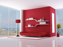 Red interior of a beach villa. Red lounge of a beach villa - rendering - the image on background is a my photo Stock Image