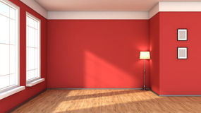 Red interior with large window Royalty Free Stock Image
