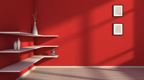 Red interior with white shelf and vases Royalty Free Stock Photo