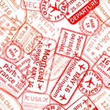 Red International travel visa rubber stamps imprints on white, seamless pattern. Many red International travel visa rubber stamps imprints on white, seamless Stock Image