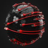 Red internet cables covering hi-tech sphere. conceptual 3d illustration of ethernet cable and rj-45 plug. With black background. suitable for any internet Royalty Free Stock Image