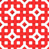 Red interwoven ribbons. Seamless pattern. Red interwoven ribbons ornament. Geometric seamless pattern with crossed strips. Vector illustration. Red tape 3d style Stock Photo