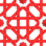 Red interwoven ribbons. Seamless pattern. Red interwoven ribbons ornament. Geometric seamless pattern with crossed strips. Vector illustration. Red tape 3d style Stock Photography