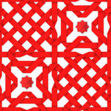 Red interwoven ribbons. Seamless pattern. Red interwoven ribbons ornament. Geometric seamless pattern with crossed strips. Vector illustration. Red tape 3d style Stock Images