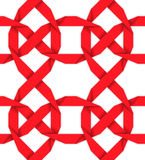 Red interwoven ribbons. Seamless pattern Stock Image