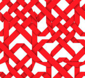 Red interwoven ribbons. Seamless pattern. Red interwoven ribbons ornament. Geometric seamless pattern with crossed strips. Vector illustration. Red tape 3d style Stock Image