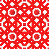 Red interwoven ribbons. Seamless pattern. Red interwoven ribbons ornament. Geometric seamless pattern with crossed strips. Vector illustration. Red tape 3d style Royalty Free Stock Image