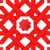 Red interwoven ribbons. Seamless pattern. Red interwoven ribbons ornament. Geometric seamless pattern with crossed strips. Vector illustration. Red tape 3d style Royalty Free Stock Photo