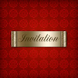 Red Invitation. With Golden Motive stock illustration