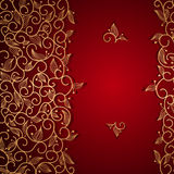 Red invitation with gold lace floral ornament Stock Photos