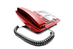 Red IP office phone isolated Royalty Free Stock Photography