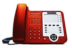Red IP phone closeup Stock Images