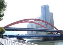 red iron bridge Stock Photo