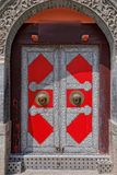 Red iron door in China Royalty Free Stock Photo