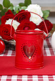 Red iron lantern with heart shape Royalty Free Stock Photos