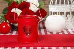 Red iron lantern with heart shape Stock Images