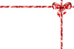 Red isolated bow. A red isolated ribbon decorated with little christmas trees. Digital illustration Stock Photo