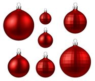 Red isolated Christmas balls set. Royalty Free Stock Photo