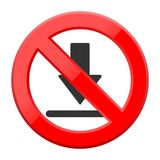 Red isolated click graphic with restricted download sign not allowed Stock Photo