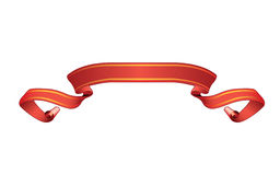 Red isolated scroll banner. Illustrated scroll banner on white background Stock Photo