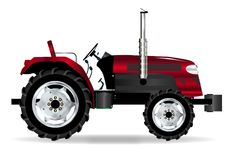 Red Isolated Tractor. A typical modern farmyard tractor in red over a white background Royalty Free Stock Photos