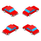 Red isometric coupe car isolated on the white background Stock Photography