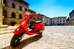 Red italian scooter Royalty Free Stock Images