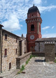 Red Italian village church Royalty Free Stock Photo