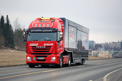 Red Iveco Semi on CaseIH Red Power Tour. SALO, FINLAND - MARCH 24, 2016: Red Iveco Stralis Semi on the road in Salo after the Case IH Red Power Tour in Turku royalty free stock images