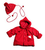 Red jacket and hat for babies Stock Image