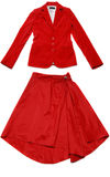 Red jacket and skirt Stock Photo