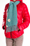 Red jacket and turquoise scarf. Royalty Free Stock Images