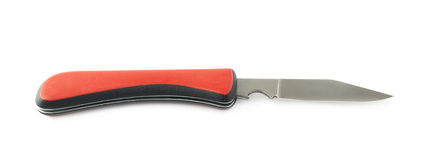 Red jackknife foldable pocket knife isolated Royalty Free Stock Photography