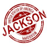 Jackson stamp with white background. Red Jackson with white background, 3D rendering Stock Image