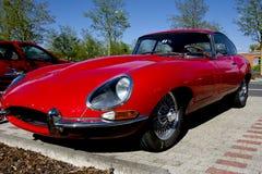 Red Jaguar E-Type. Old Jaguar E standing on a parking place Stock Photo