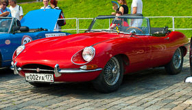 Red Jaguar E-Type. Modelyear 1963 Retro Car  Royalty Free Stock Image