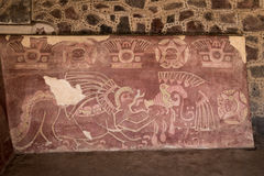 The Red Jaguar mural painting at Teotihuacan Ruins - Mexico City, Mexico Royalty Free Stock Image