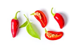 Red jalapenos peppers on white background. Isolated Royalty Free Stock Photo