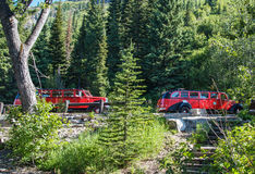 Red Jammer Buses. Two of the famous Red Jammer Buses await passengers to return after stopping on the Going to the Sun Road for a quick break for photographs royalty free stock photos