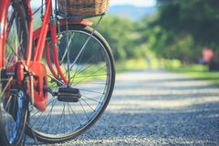 Red Japan style classic bicycle at the park Stock Photo
