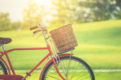 Red Japan style classic bicycle at the park Stock Images