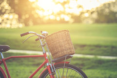 Red Japan style classic bicycle at the park Stock Image