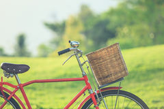 Red Japan style classic bicycle at the park Royalty Free Stock Photo
