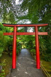 Red Japanese arch, Butchart Gardens, Victoria, Canada Stock Photo
