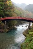 Red Japanese bridge. A typical Japanese red wooden bridge in Nikko royalty free stock photos