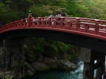 Red japanese bridge. Sacred wooden red bridge in Nikko Japan Royalty Free Stock Photos