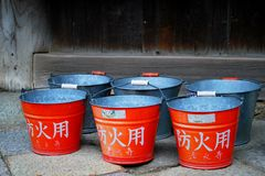 Red japanese buckets Stock Photo