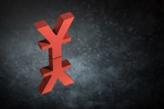 Red Japanese of Chinese Currency Symbol or Sign With Mirror Reflection on Dark Dusty Background. Red Japanese of Chinese Currency Symbol Yen or Yuan With Mirror stock images