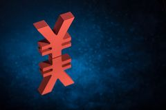 Red Japanese of Chinese Currency Symbol or Sign With Mirror Reflection on Blue Dusty Background royalty free stock photo