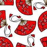 Red Japanese fans Royalty Free Stock Images